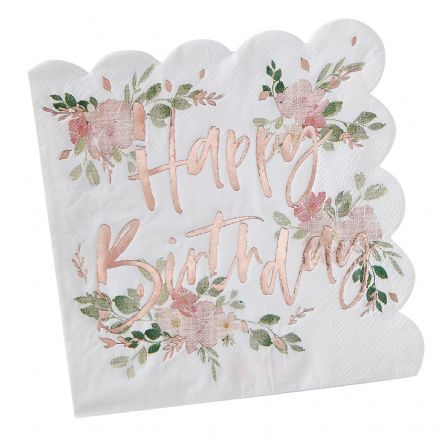 Ditsy Floral 'Happy Birthday' Paper Napkins